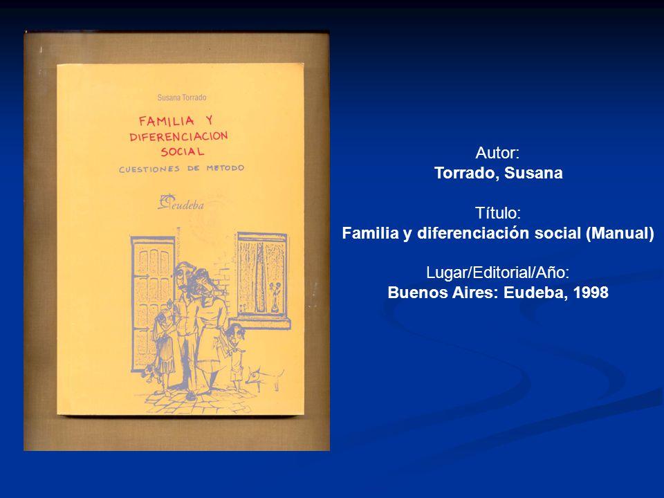 Familia y diferenciación social (Manual)