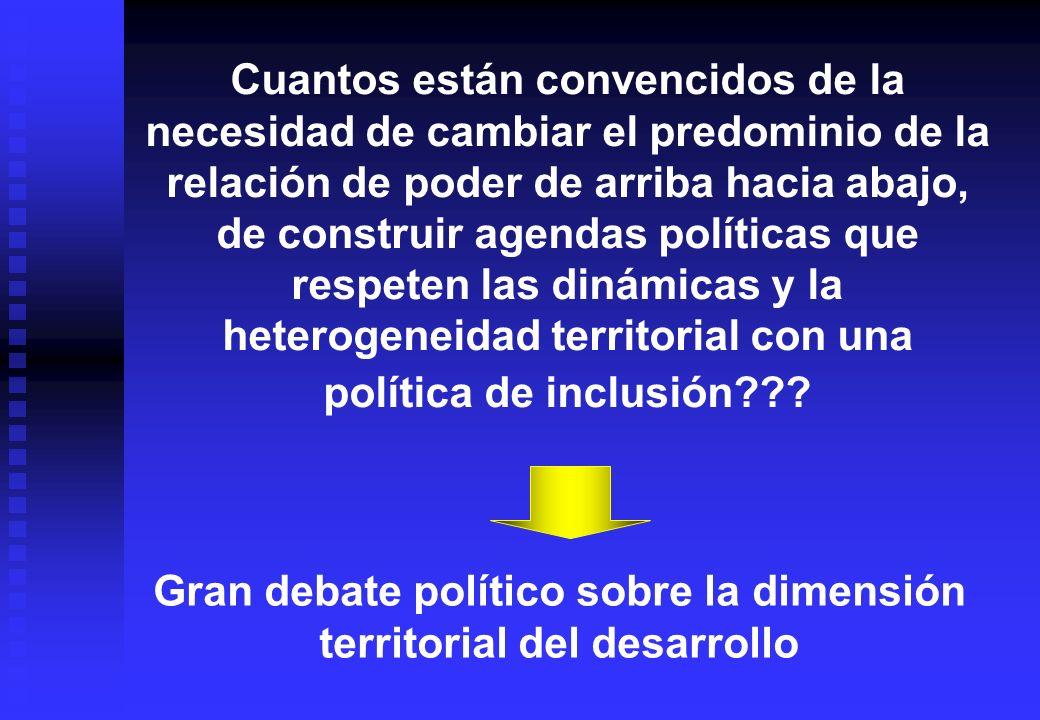 Gran debate político sobre la dimensión territorial del desarrollo