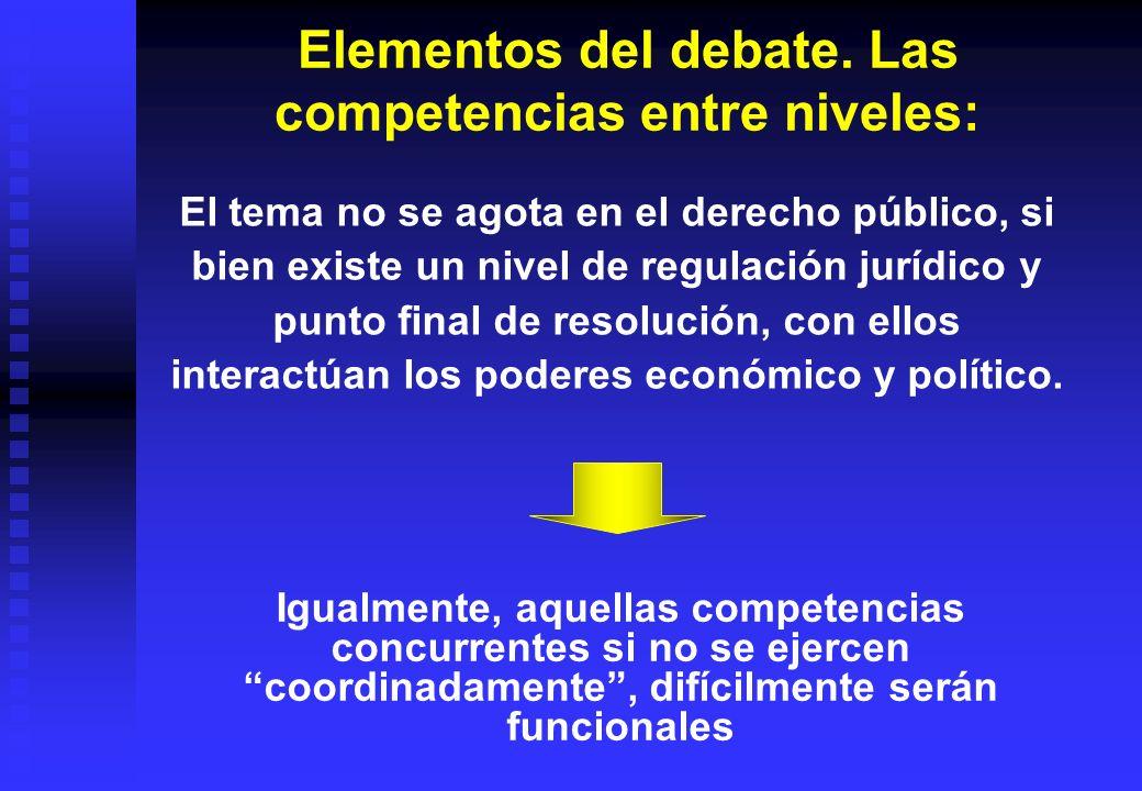 Elementos del debate. Las competencias entre niveles: