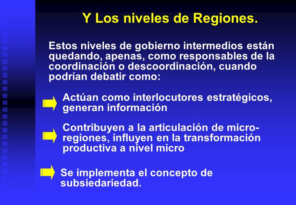 Y Los niveles de Regiones.