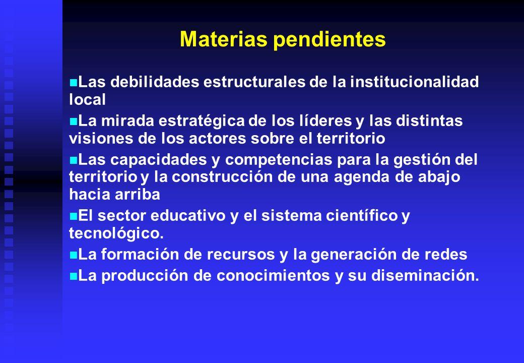 Materias pendientesLas debilidades estructurales de la institucionalidad local.