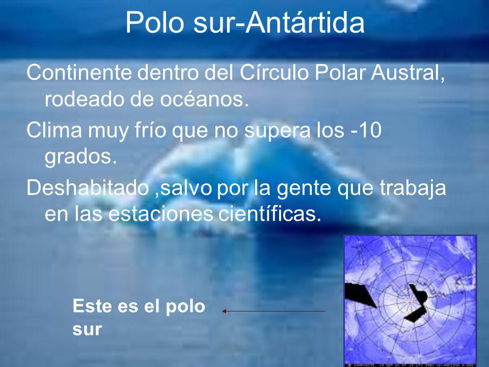 Polo sur-Antártida Continente dentro del Círculo Polar Austral, rodeado de océanos. Clima muy frío que no supera los -10 grados.