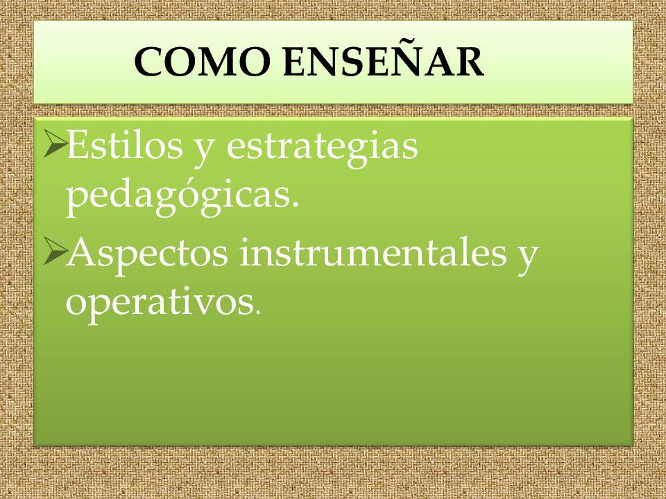 COMO ENSEÑAR Estilos y estrategias pedagógicas. Aspectos instrumentales y operativos.