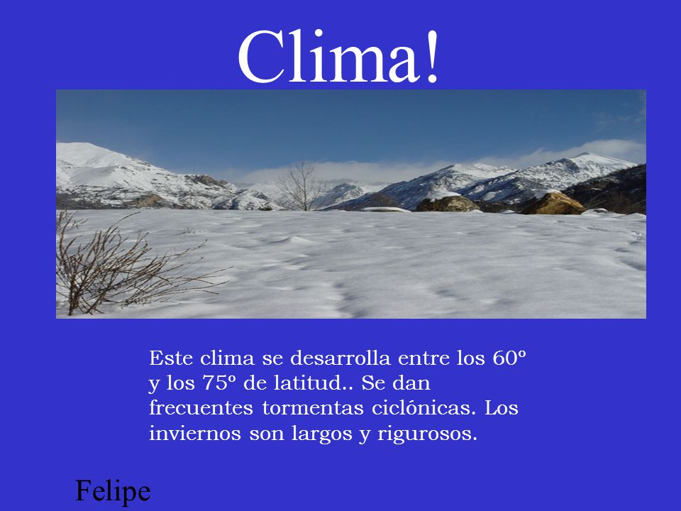 Clima! Este clima se desarrolla entre los 60º y los 75º de latitud.. Se dan frecuentes tormentas ciclónicas. Los inviernos son largos y rigurosos.