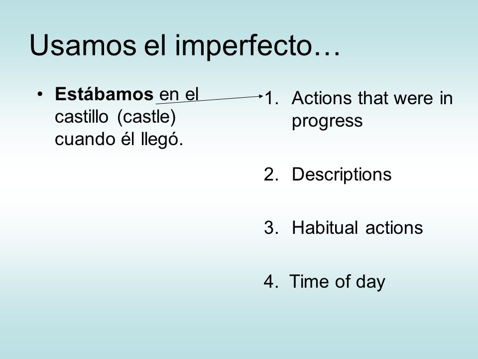 Usamos el imperfecto… Estábamos en el castillo (castle) cuando él llegó. Actions that were in progress.