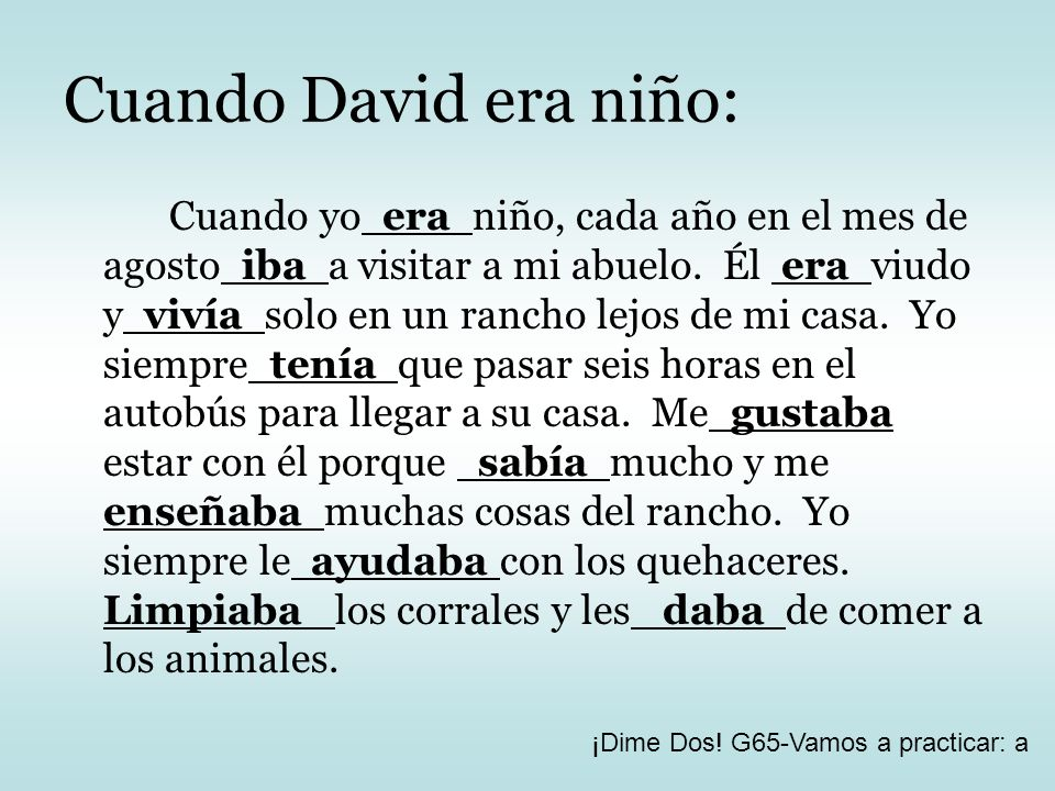 Cuando David era niño: