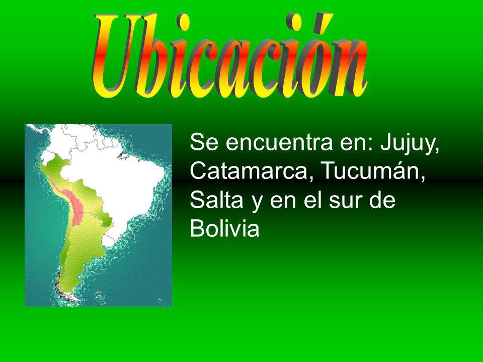 Ubicación Se encuentra en: Jujuy, Catamarca, Tucumán, Salta y en el sur de Bolivia