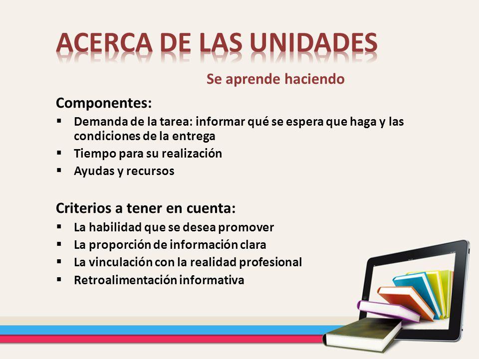 ACERCA DE LAS UNIDADES Se aprende haciendo Componentes: