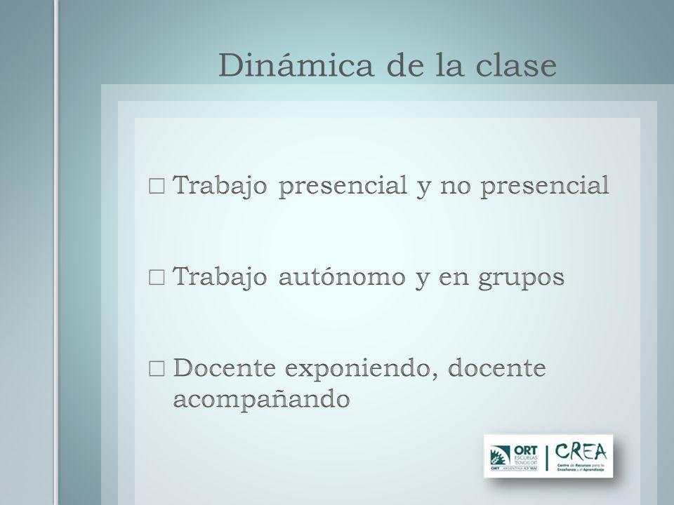 Dinámica de la clase Trabajo presencial y no presencial