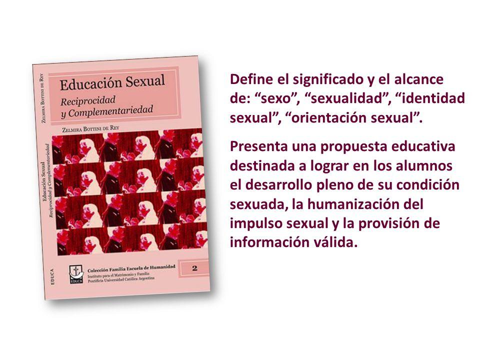 Define el significado y el alcance de: sexo , sexualidad , identidad sexual , orientación sexual .