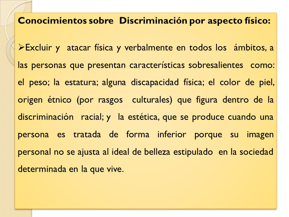 Conocimientos sobre Discriminación por aspecto físico: