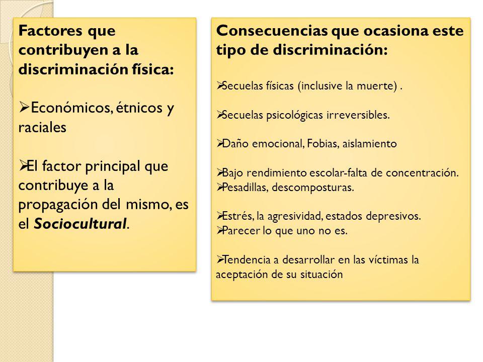 Factores que contribuyen a la discriminación física:
