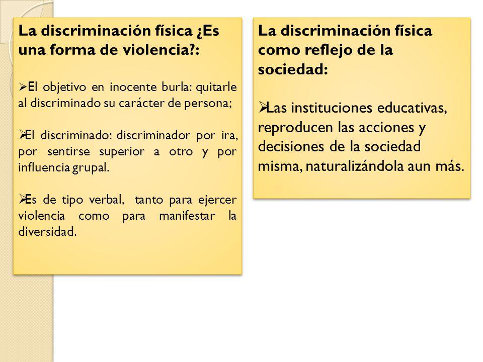 La discriminación física ¿Es una forma de violencia :