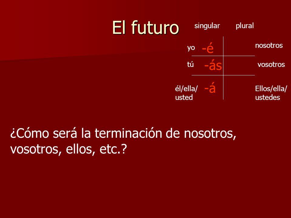 El futuro singular. plural. -é. nosotros. yo. -ás. tú. vosotros. -á. él/ella/usted. Ellos/ella/ustedes.