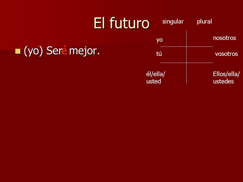 El futuro (yo) Ser mejor. é singular plural nosotros yo tú vosotros