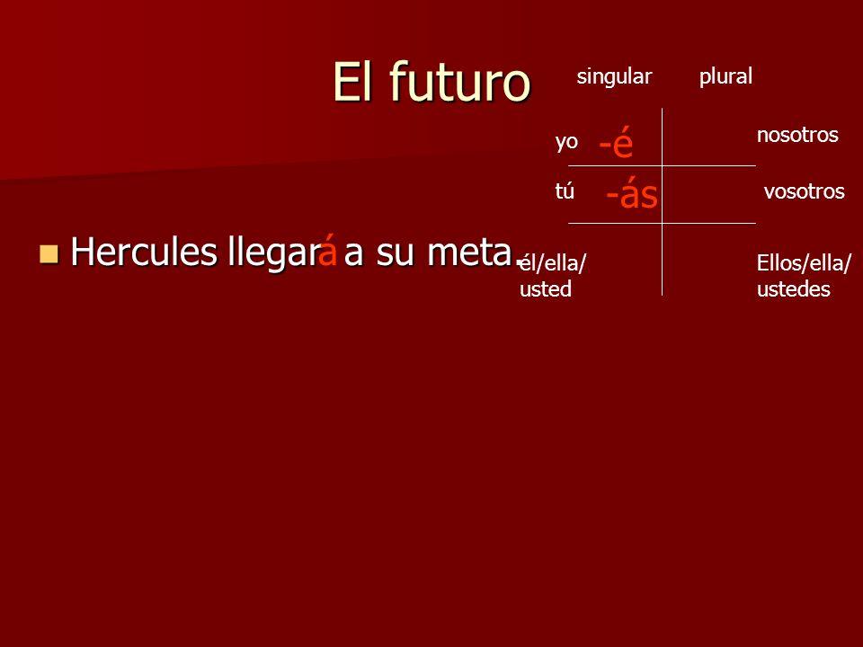 El futuro -é -ás Hercules llegar a su meta. á singular plural nosotros