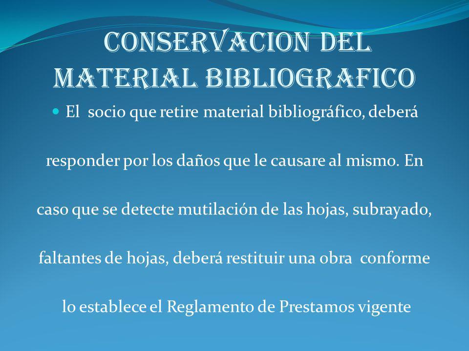 CONSERVACION DEL MATERIAL BIBLIOGRAFICO
