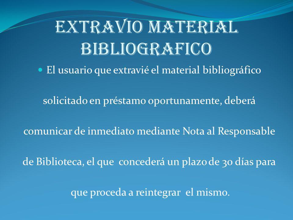 EXTRAVIO MATERIAL BIBLIOGRAFICO