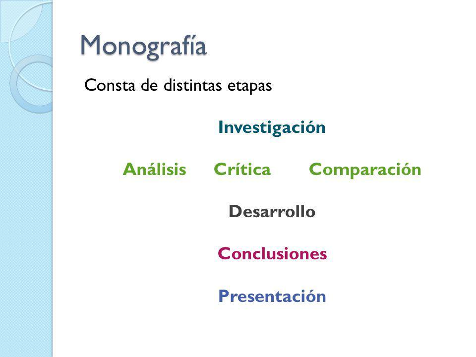 Monografía Consta de distintas etapas Investigación Análisis Crítica Comparación Desarrollo Conclusiones Presentación