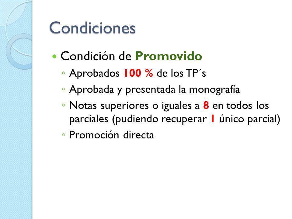 Condiciones Condición de Promovido Aprobados 100 % de los TP´s