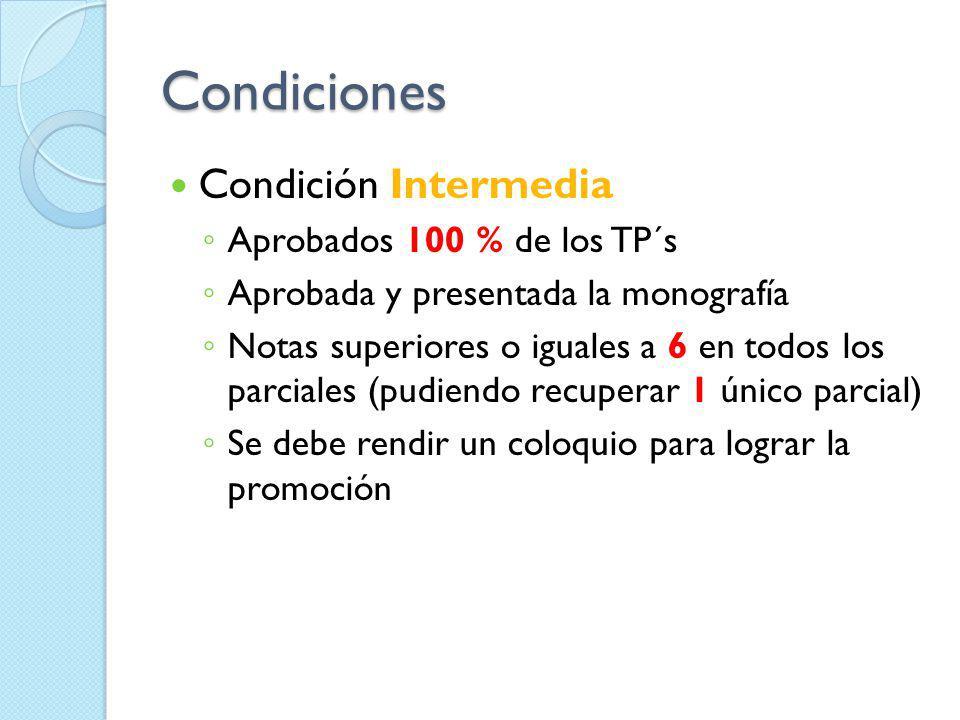 Condiciones Condición Intermedia Aprobados 100 % de los TP´s