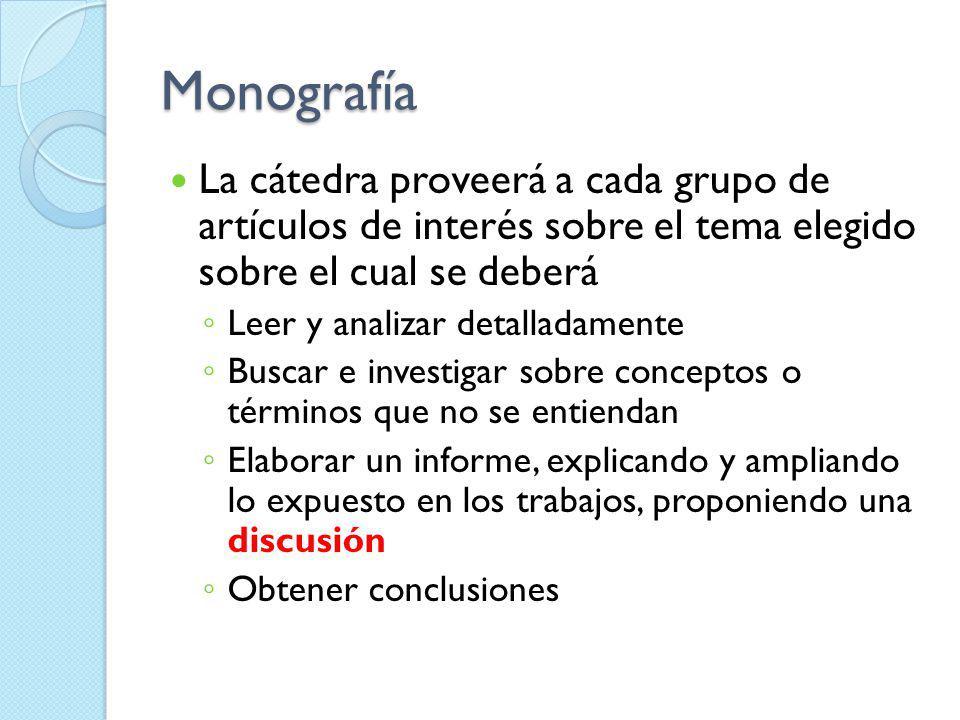 Monografía La cátedra proveerá a cada grupo de artículos de interés sobre el tema elegido sobre el cual se deberá.