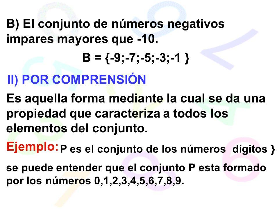 B) El conjunto de números negativos impares mayores que -10.