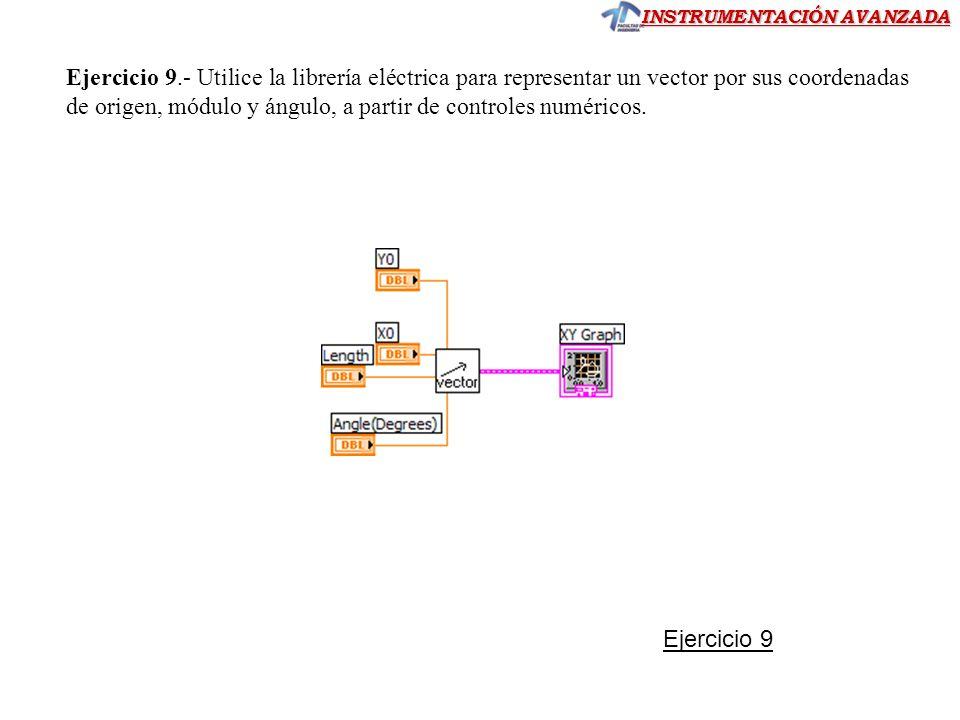 Ejercicio 9.- Utilice la librería eléctrica para representar un vector por sus coordenadas de origen, módulo y ángulo, a partir de controles numéricos.