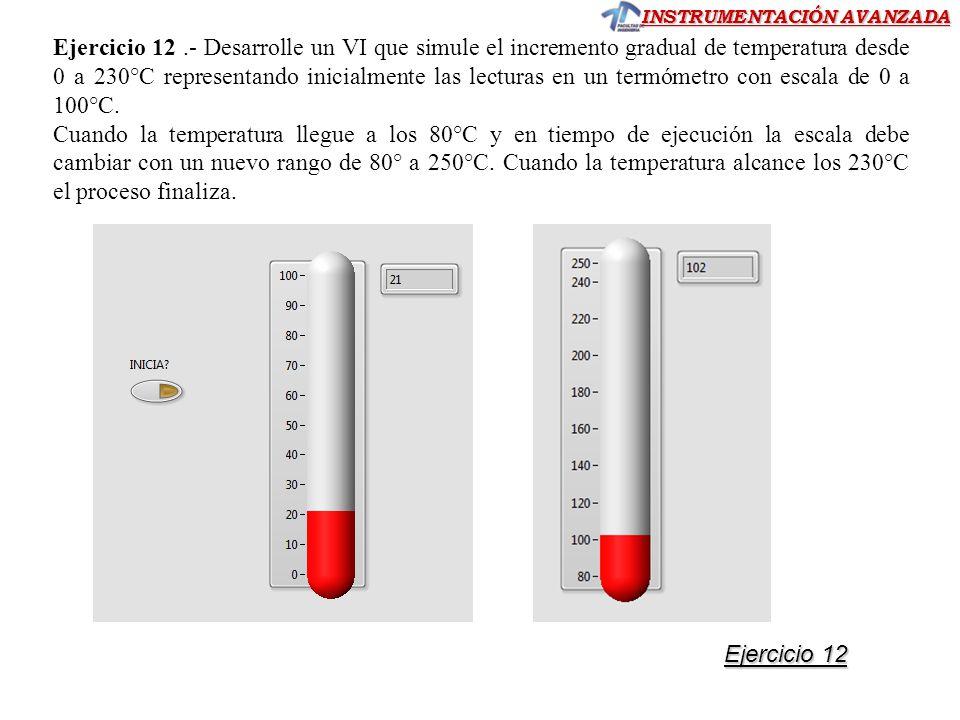 Ejercicio 12 .- Desarrolle un VI que simule el incremento gradual de temperatura desde 0 a 230°C representando inicialmente las lecturas en un termómetro con escala de 0 a 100°C.