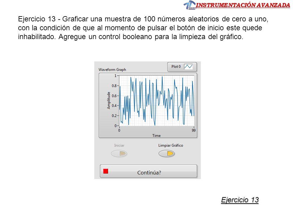 Ejercicio 13 - Graficar una muestra de 100 números aleatorios de cero a uno, con la condición de que al momento de pulsar el botón de inicio este quede inhabilitado. Agregue un control booleano para la limpieza del gráfico.
