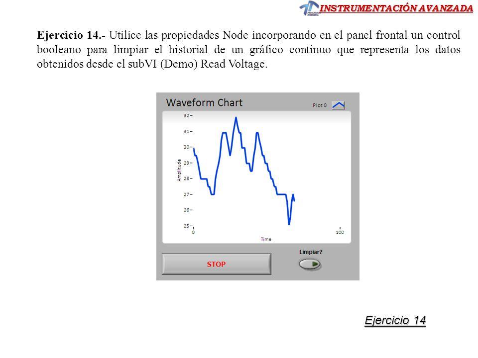Ejercicio 14.- Utilice las propiedades Node incorporando en el panel frontal un control booleano para limpiar el historial de un gráfico continuo que representa los datos obtenidos desde el subVI (Demo) Read Voltage.