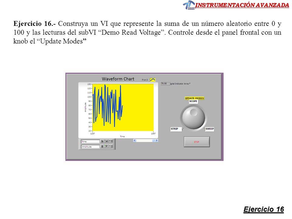 Ejercicio 16.- Construya un VI que represente la suma de un número aleatorio entre 0 y 100 y las lecturas del subVI Demo Read Voltage . Controle desde el panel frontal con un knob el Update Modes