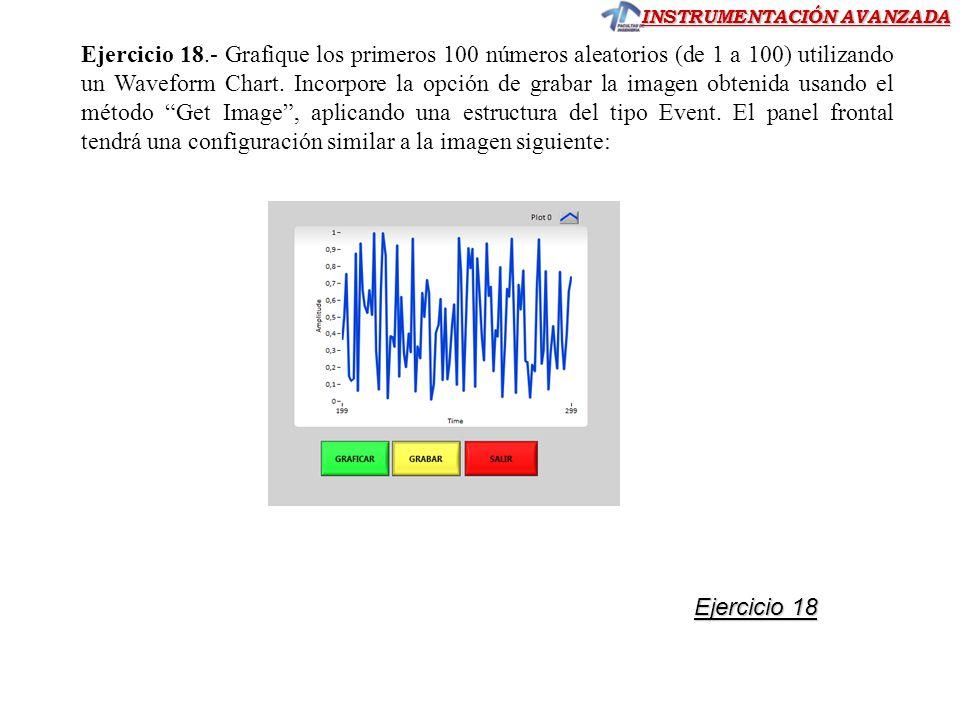 Ejercicio 18.- Grafique los primeros 100 números aleatorios (de 1 a 100) utilizando un Waveform Chart. Incorpore la opción de grabar la imagen obtenida usando el método Get Image , aplicando una estructura del tipo Event. El panel frontal tendrá una configuración similar a la imagen siguiente: