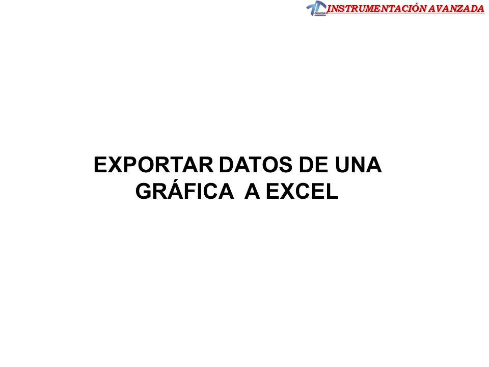 EXPORTAR DATOS DE UNA GRÁFICA A EXCEL
