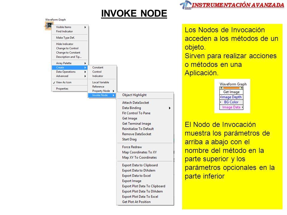 INVOKE NODE Los Nodos de Invocación acceden a los métodos de un objeto. Sirven para realizar acciones o métodos en una.