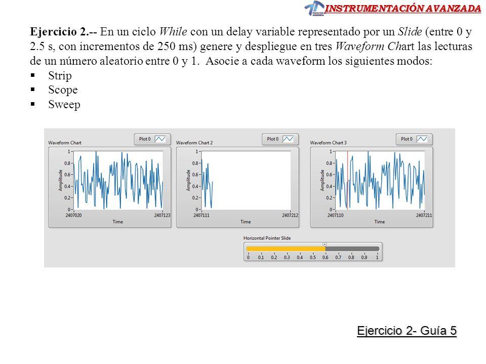 Ejercicio 2.-- En un ciclo While con un delay variable representado por un Slide (entre 0 y 2.5 s, con incrementos de 250 ms) genere y despliegue en tres Waveform Chart las lecturas de un número aleatorio entre 0 y 1. Asocie a cada waveform los siguientes modos: