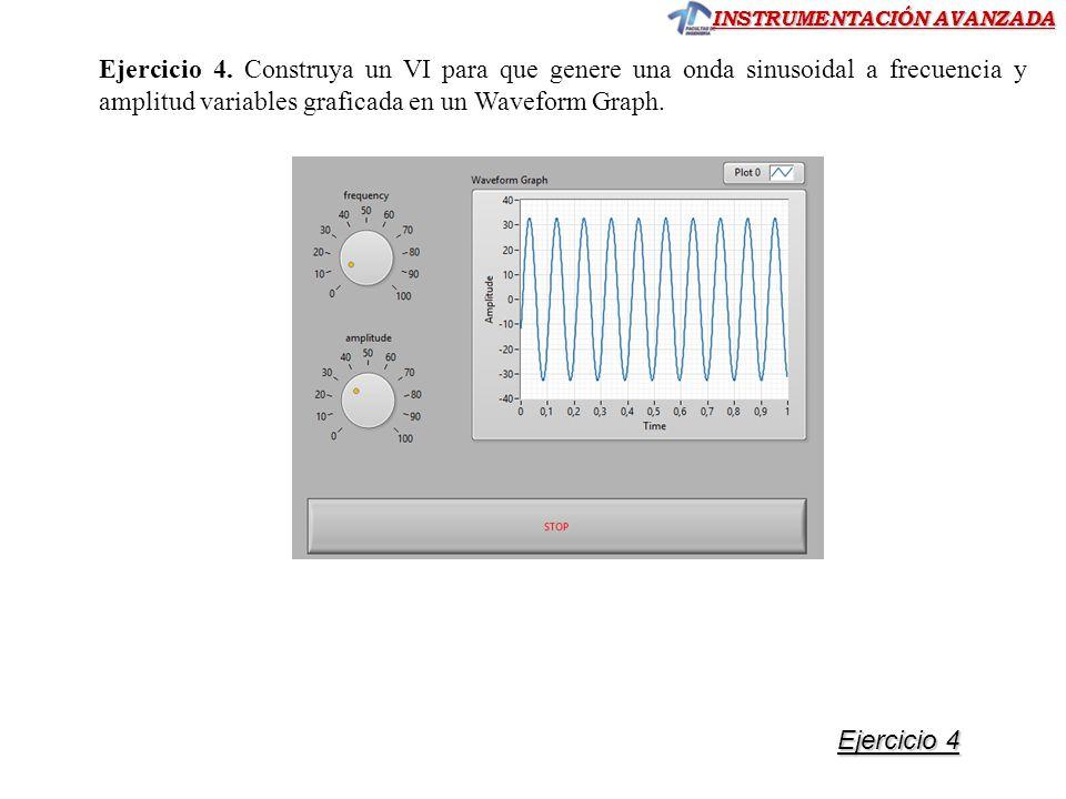 Ejercicio 4. Construya un VI para que genere una onda sinusoidal a frecuencia y amplitud variables graficada en un Waveform Graph.