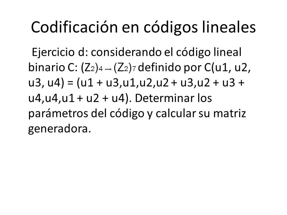 Codificación en códigos lineales