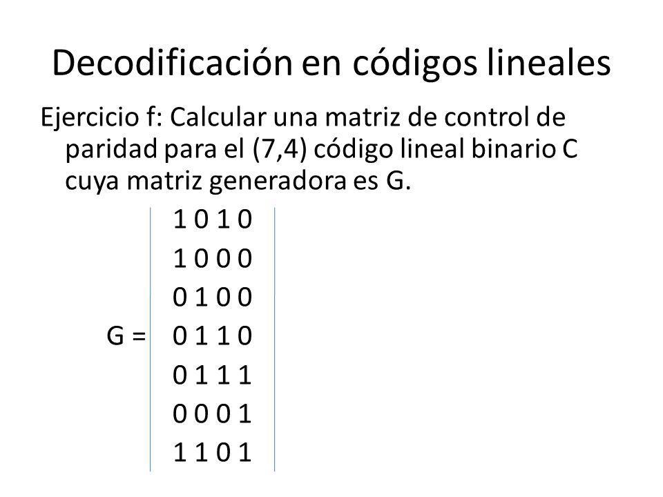 Decodificación en códigos lineales