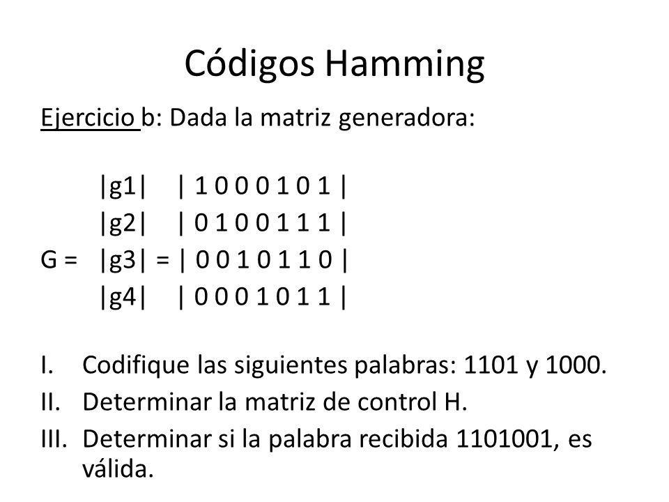 Códigos Hamming Ejercicio b: Dada la matriz generadora: