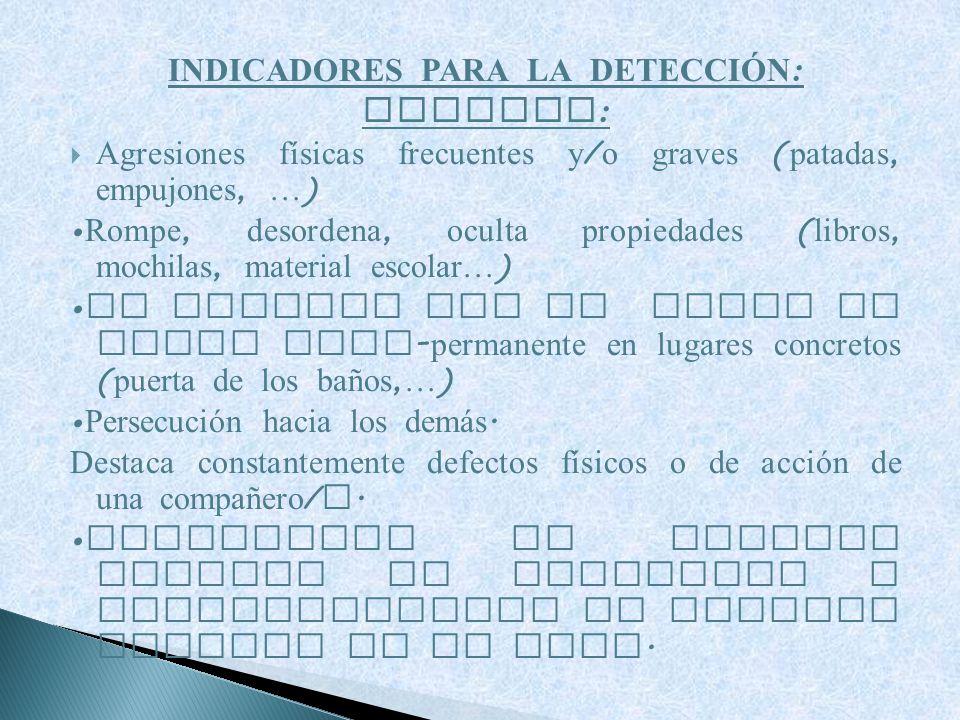 INDICADORES PARA LA DETECCIÓN: