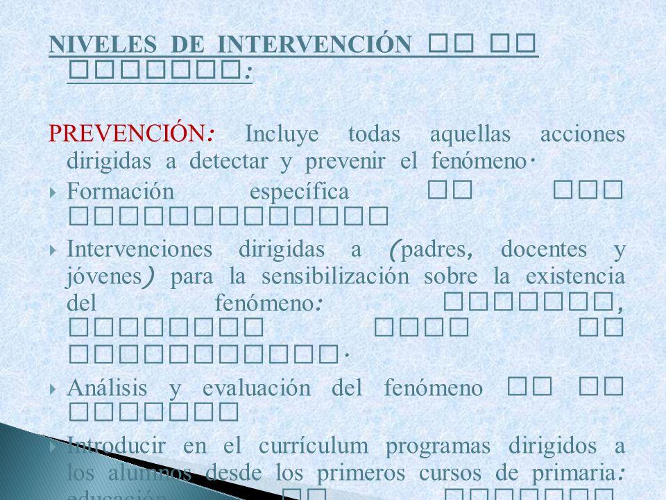 NIVELES DE INTERVENCIÓN EN LA ESCUELA: