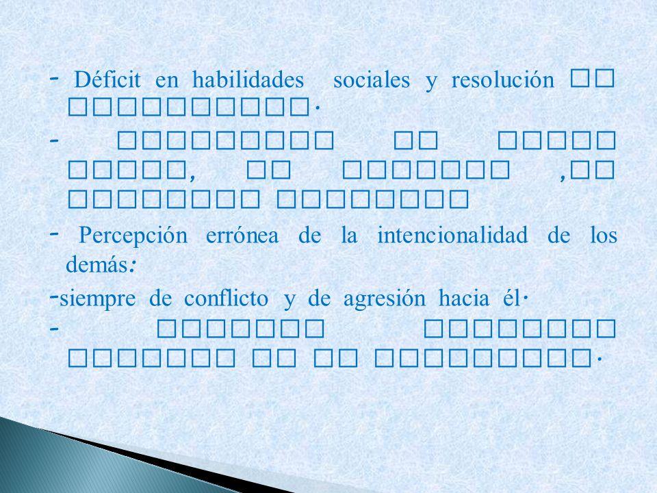 - Déficit en habilidades sociales y resolución de conflictos.