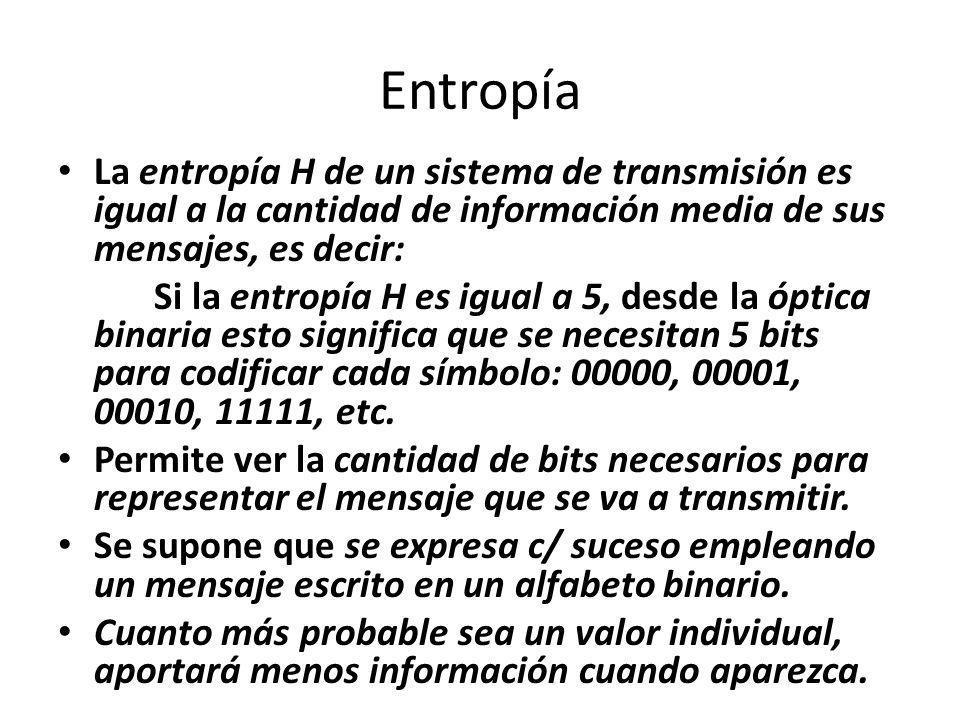 Entropía La entropía H de un sistema de transmisión es igual a la cantidad de información media de sus mensajes, es decir: