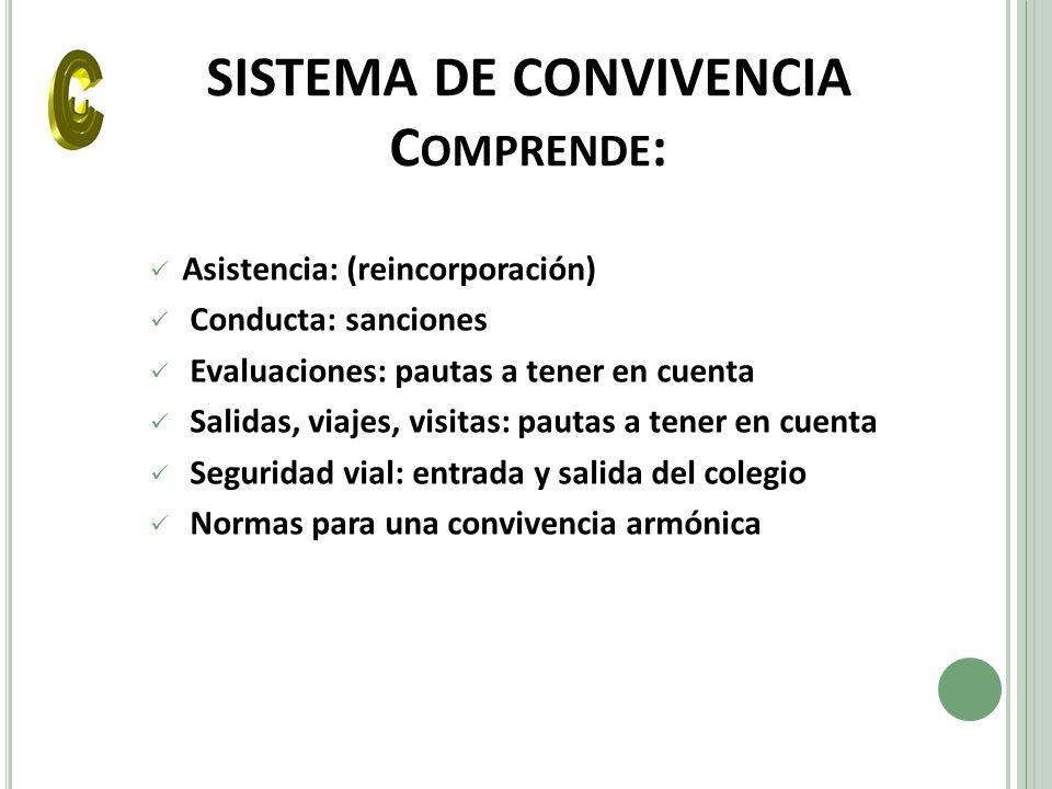 SISTEMA DE CONVIVENCIA Comprende: