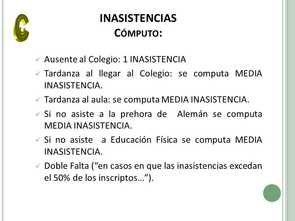 INASISTENCIAS Cómputo: