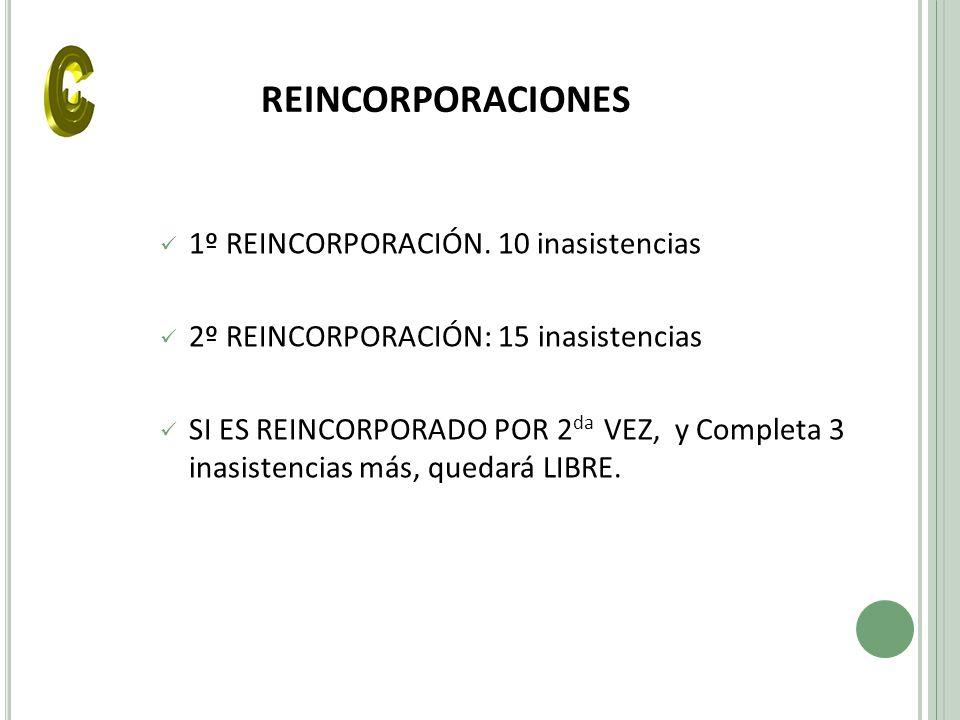 REINCORPORACIONES 1º REINCORPORACIÓN. 10 inasistencias