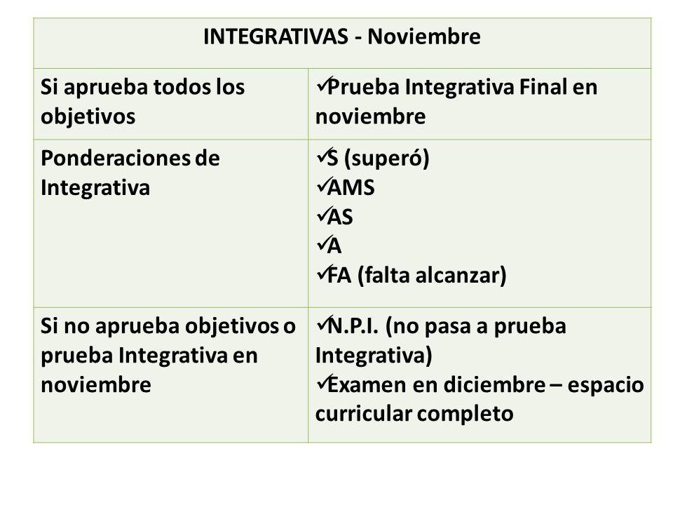 INTEGRATIVAS - Noviembre