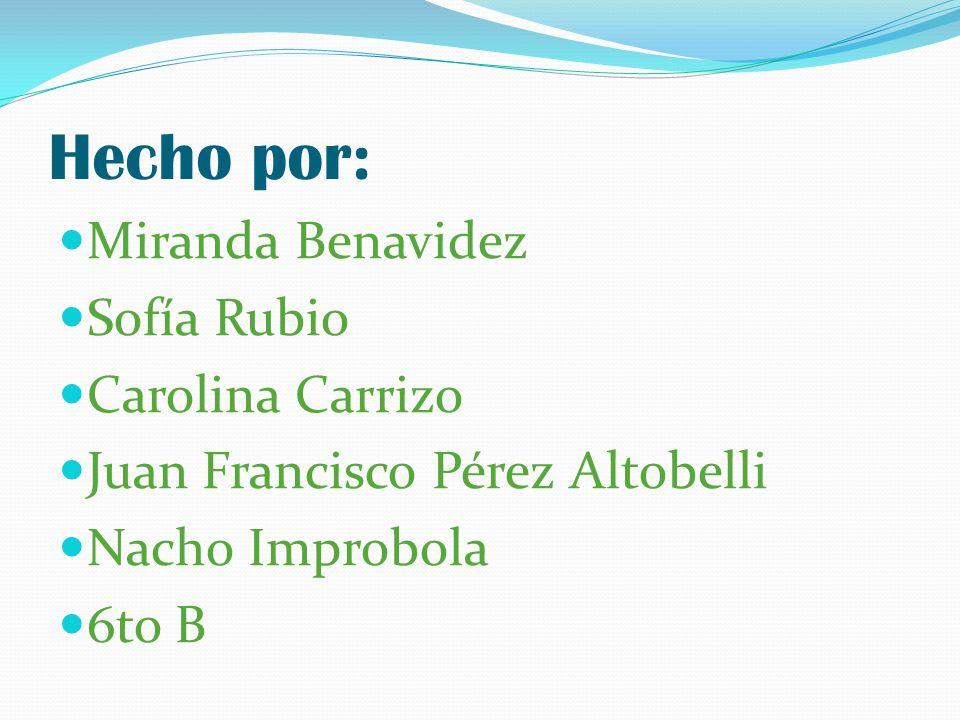 Hecho por: Miranda Benavidez Sofía Rubio Carolina Carrizo