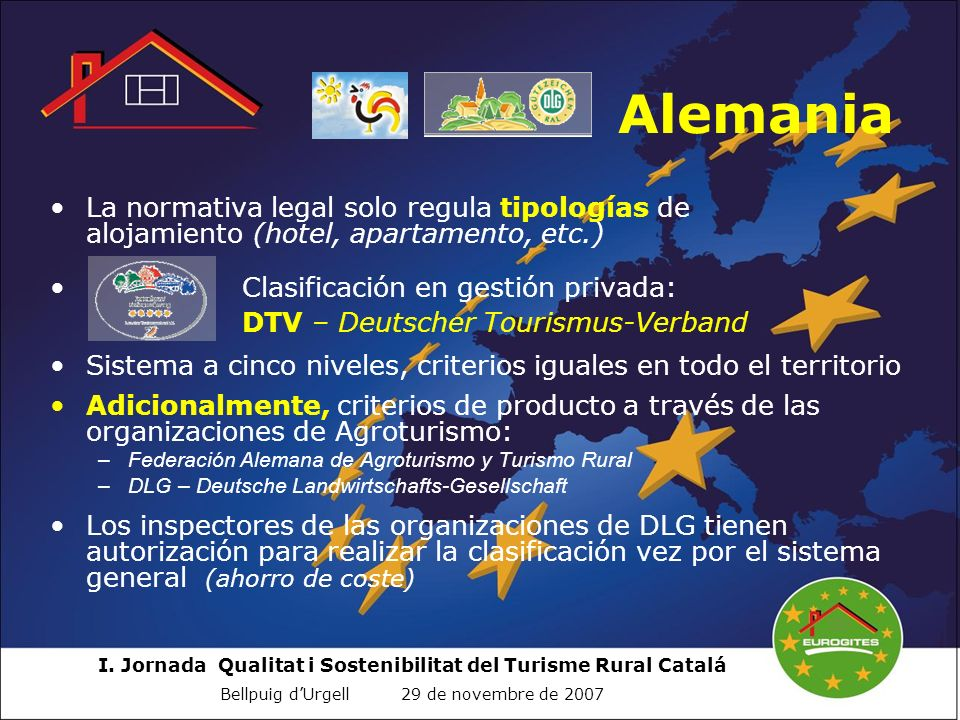 Alemania La normativa legal solo regula tipologías de alojamiento (hotel, apartamento, etc.)
